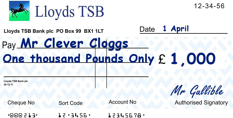 £1000 cheque