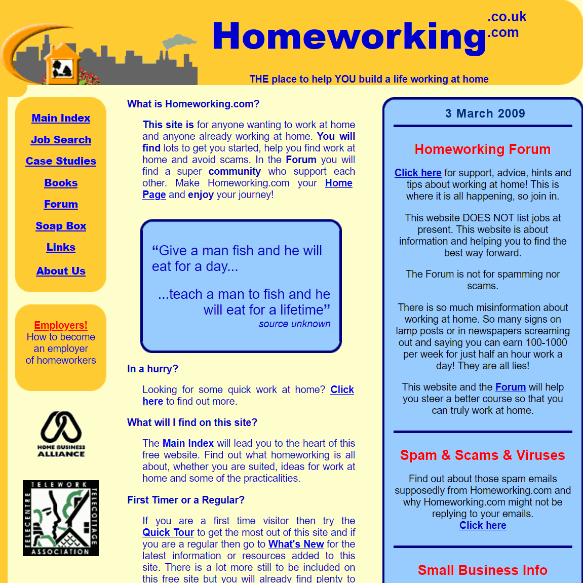 homeworking website 2009