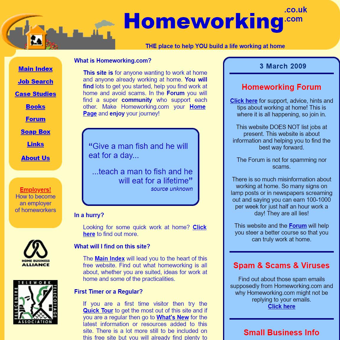 homeworking website 2009
