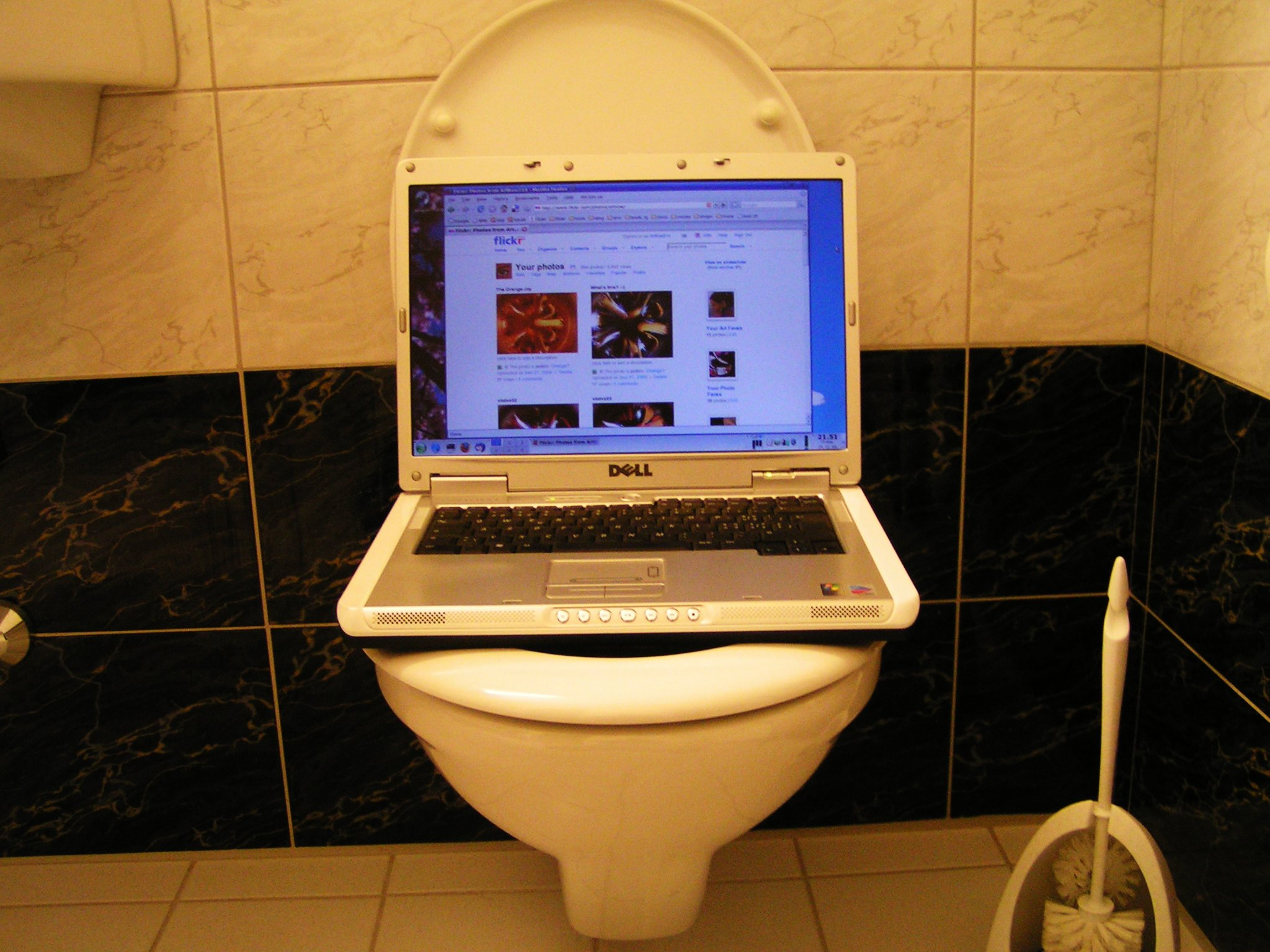 Laptop in the bathroom